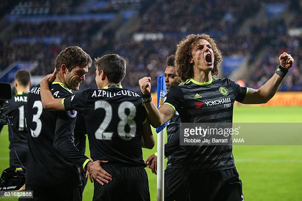 David Luiz of Chelsea celebrates after Marcos Alonso of Chelsea scories a goal to make it 02 during the Premier League match between Leicester City...