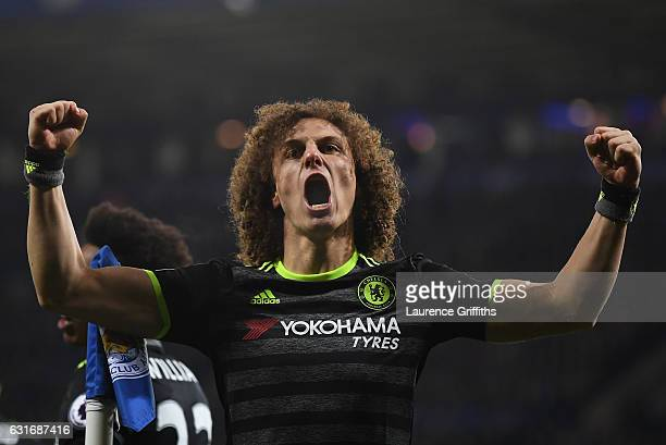 David Luiz of Chelsea celebrates after teammate Marcos Alonso of Chelsea scores their team's second goal during the Premier League match between...
