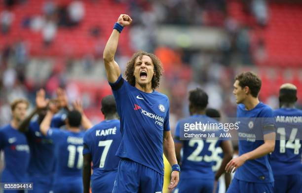 David Luiz of Chelsea celebrates after the Premier League match between Tottenham Hotspur and Chelsea at Wembley Stadium on August 20 2017 in London...