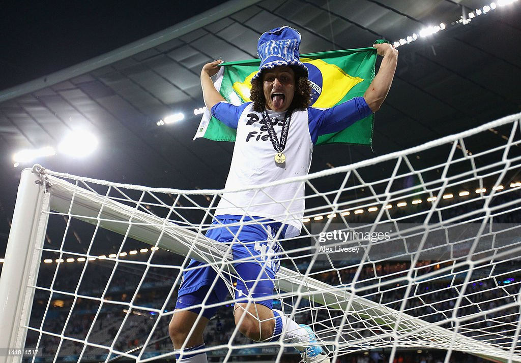 David Luiz of Chelsea celebrates after their victory in the UEFA Champions League Final between FC Bayern Muenchen and Chelsea at the Fussball Arena München on May 19, 2012 in Munich, Germany.