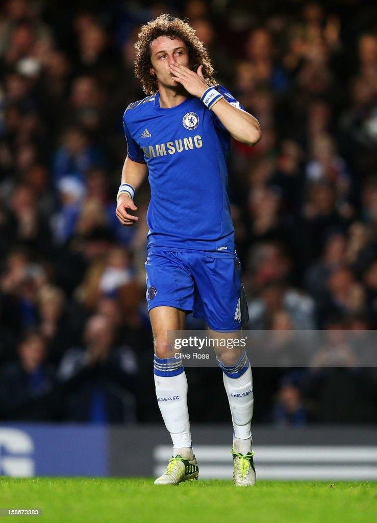 David Luiz of Chelsea celebrates as he scores their second goal during the Barclays Premier League match between Chelsea and Aston Villa at Stamford Bridge on December 23, 2012 in London, England.