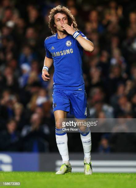 David Luiz of Chelsea celebrates as he scores their second goal during the Barclays Premier League match between Chelsea and Aston Villa at Stamford...