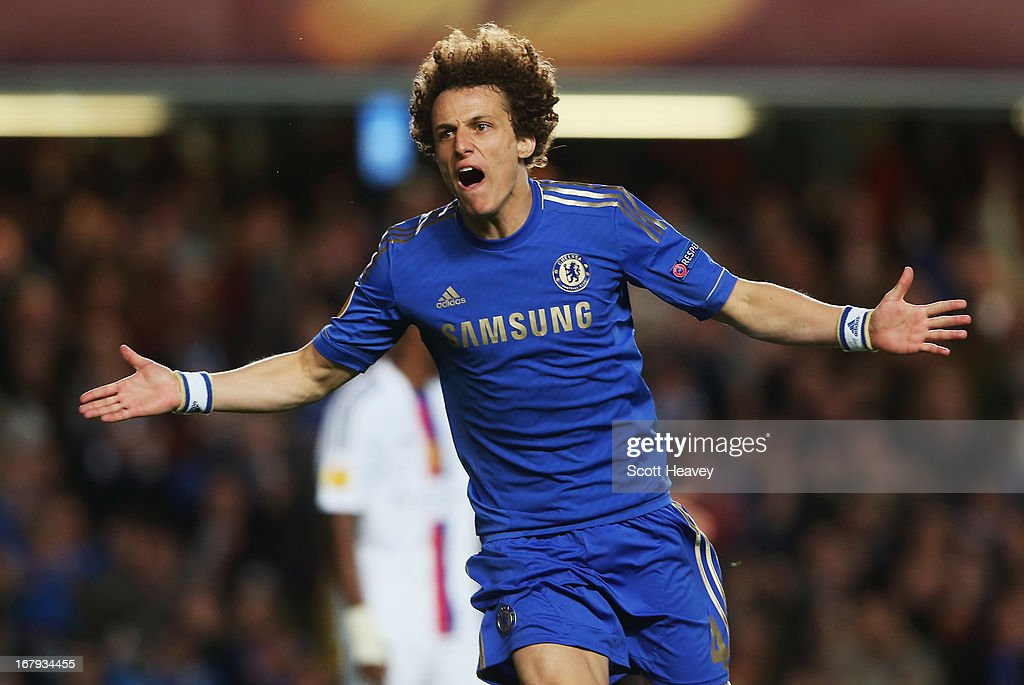 <a gi-track='captionPersonalityLinkClicked' href=/galleries/search?phrase=David+Luiz&family=editorial&specificpeople=4133397 ng-click='$event.stopPropagation()'>David Luiz</a> of Chelsea celebrates as he scores their third goal during the UEFA Europa League semi-final second leg match between Chelsea and FC Basel 1893 at Stamford Bridge on May 2, 2013 in London, England.