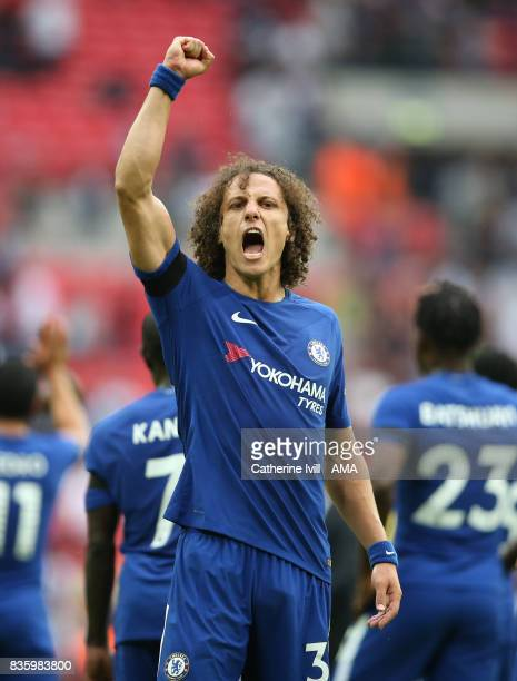David Luiz of Chelsea celebrates during the Premier League match between Tottenham Hotspur and Chelsea at Wembley Stadium on August 20 2017 in London...