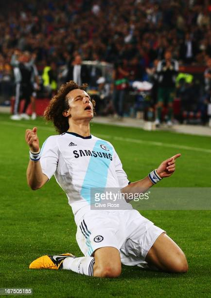 David Luiz of Chelsea celebrates scoring his sides second goal during the UEFA Europa League Semi Final First Leg match between FC Basel 1893 and...
