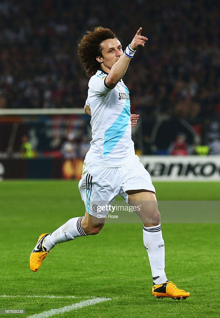 <a gi-track='captionPersonalityLinkClicked' href=/galleries/search?phrase=David+Luiz&family=editorial&specificpeople=4133397 ng-click='$event.stopPropagation()'>David Luiz</a> of Chelsea celebrates scoring his sides second goal during the UEFA Europa League Semi Final First Leg match between FC Basel 1893 and Chelsea at St. Jakob Stadium on April 25, 2013 in Basel, Switzerland.