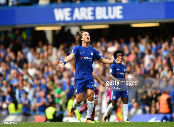 David Luiz of Chelsea celebrates scoring his sides second goal during the Premier League match between Chelsea and Burnley at Stamford Bridge on...