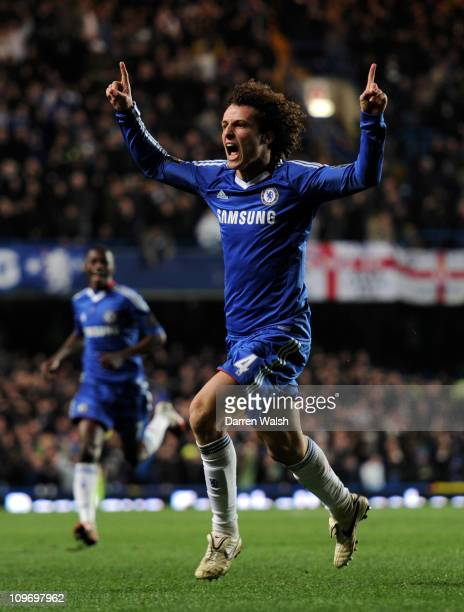 David Luiz of Chelsea celebrates scoring the equalising goal during the Barclays Premier League match between Chelsea and Manchester United at...
