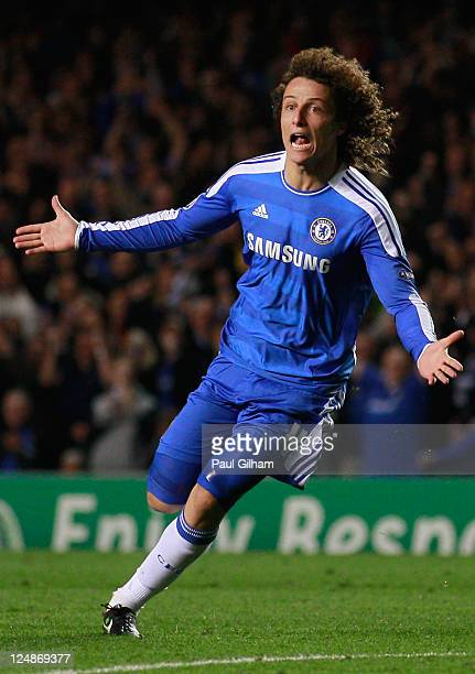 David Luiz of Chelsea celebrates scoring the opening goal during the UEFA Champions League Group E match between Chelsea and Bayer 04 Leverkusen at...