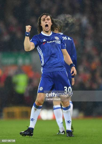 David Luiz of Chelsea celebrates scoring the opening goal during the Premier League match between Liverpool and Chelsea at Anfield on January 31 2017...