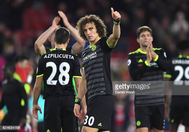 David Luiz of Chelsea celebrates victory after the Premier League match between Middlesbrough and Chelsea at Riverside Stadium on November 20 2016 in...