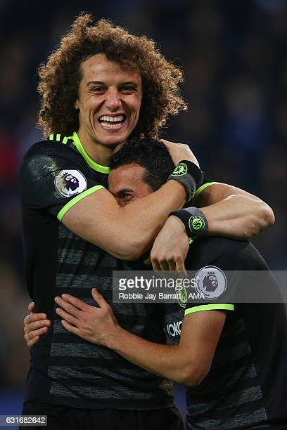 David Luiz of Chelsea celebrates with Pedro of Chelsea after he scores a goal to make it 03 during the Premier League match between Leicester City...