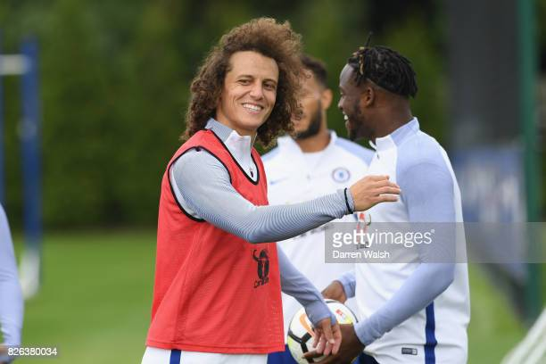 David Luiz of Chelsea during a training session at Chelsea Training Ground on August 4 2017 in Cobham England