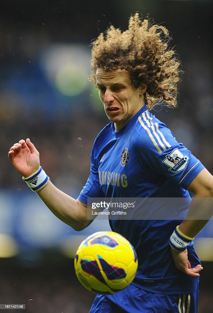 David Luiz of Chelsea in action during the Barclays Premier League match between Chelsea and Wigan Athletic at Stamford Bridge on February 9, 2013 in London, England.