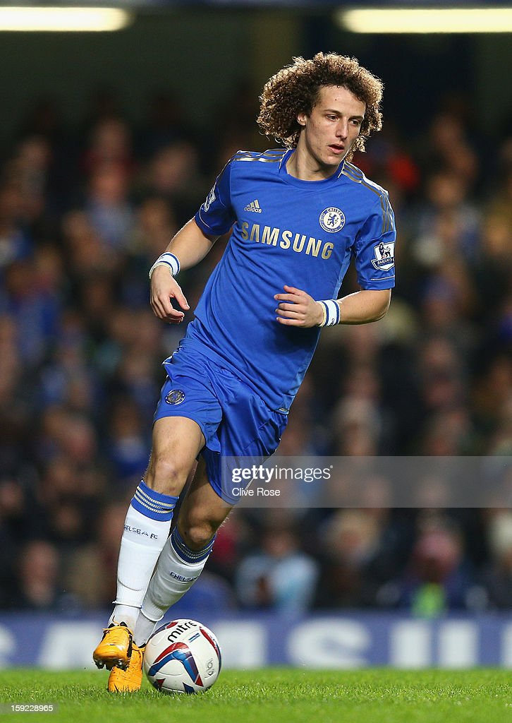 David Luiz of Chelsea in action during the Capital One Cup Semi-Final first leg match between Chelsea and Swansea City at Stamford Bridge on January 9, 2013 in London, England.
