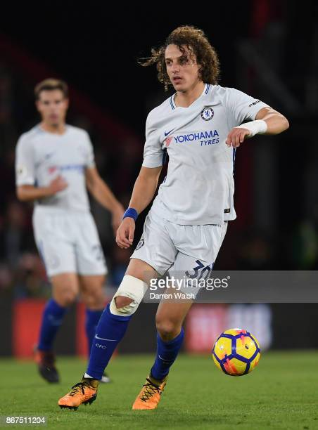 David Luiz of Chelsea in action during the Premier League match between AFC Bournemouth and Chelsea at Vitality Stadium on October 28 2017 in...