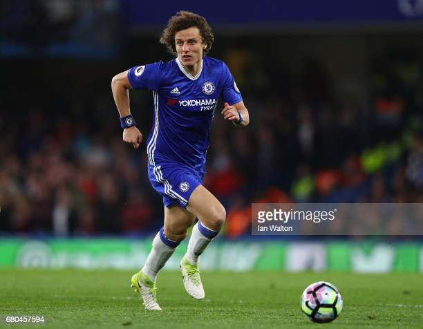 David Luiz of Chelsea in action during the Premier League match between Chelsea and Middlesbrough at Stamford Bridge on May 8 2017 in London England