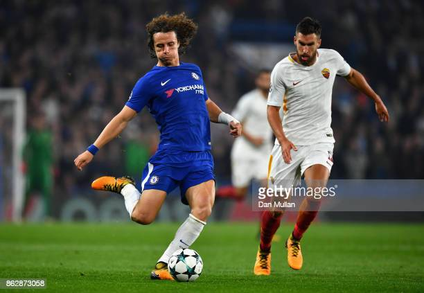 David Luiz of Chelsea in action during the UEFA Champions League group C match between Chelsea FC and AS Roma at Stamford Bridge on October 18 2017...