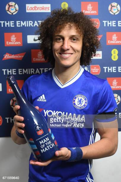 David Luiz of Chelsea poses with the Man of The Match Award following The Emirates FA Cup SemiFinal between Chelsea and Tottenham Hotspur at Wembley...