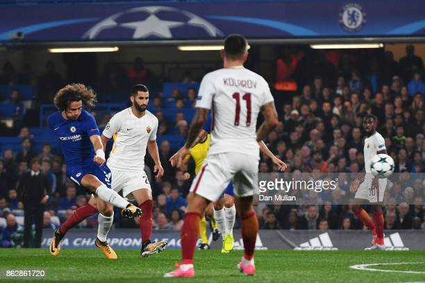 David Luiz of Chelsea scores his sides first goal during the UEFA Champions League group C match between Chelsea FC and AS Roma at Stamford Bridge on...