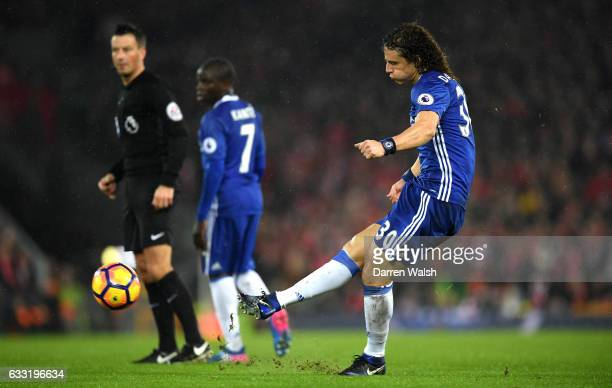 David Luiz of Chelsea scores the opening goal during the Premier League match between Liverpool and Chelsea at Anfield on January 31 2017 in...