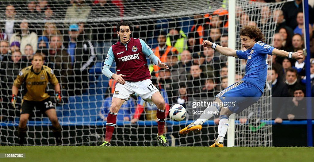 David Luiz of Chelsea shoots at goal during the Barclays Premier League match between Chelsea and West Ham United at Stamford Bridge on March 17, 2013 in London, England.