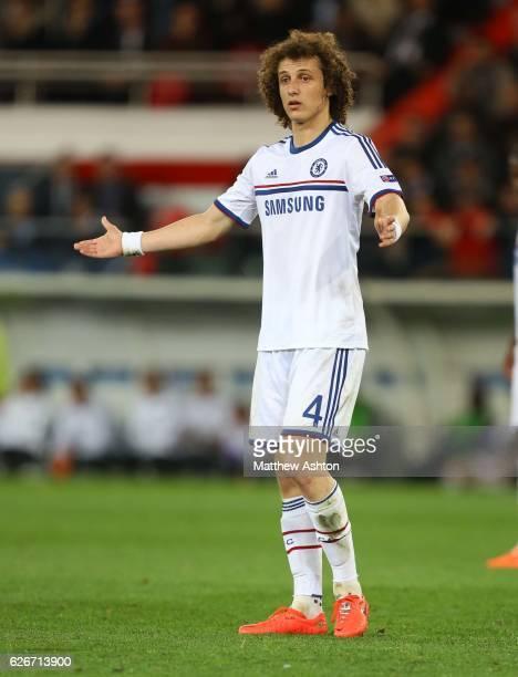 David Luiz of Chelsea shrugs his shoulders