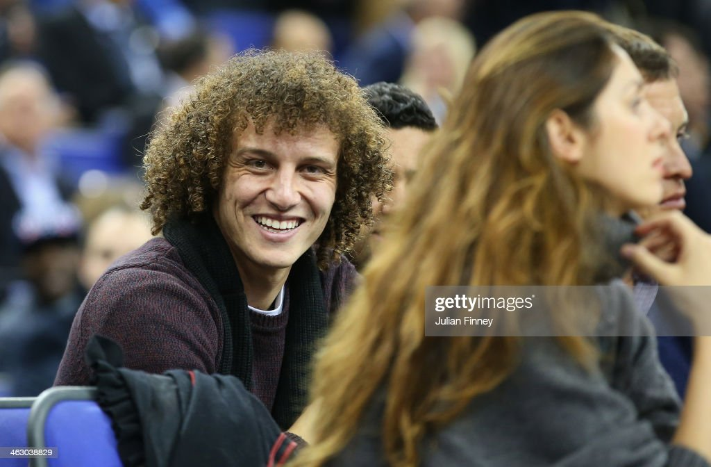 David Luiz of Chelsea smiles before the Eastern Conference NBA match between Brooklyn Nets and Atlanta Hawks at O2 Arena on January 16, 2014 in London, England.
