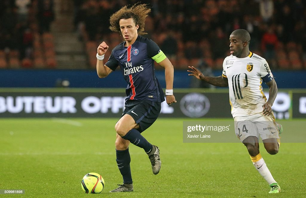 <a gi-track='captionPersonalityLinkClicked' href=/galleries/search?phrase=David+Luiz&family=editorial&specificpeople=4133397 ng-click='$event.stopPropagation()'>David Luiz</a> of Paris Saint-Germainin action with Antonio Mavuba of Lille LOSC during the French Ligue 1 between Paris Saint-Germain and Lille OSC at Parc Des Princes on february 13, 2016 in Paris, France.