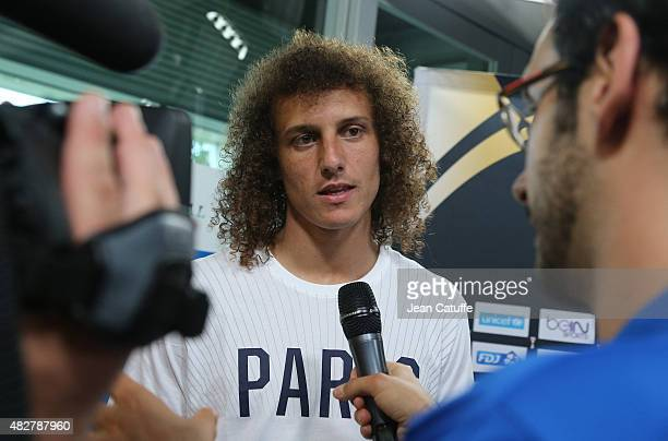 David Luiz of PSG answers to the media following Paris SaintGermain training session on the eve of the 2015 Trophee des Champions between Paris...