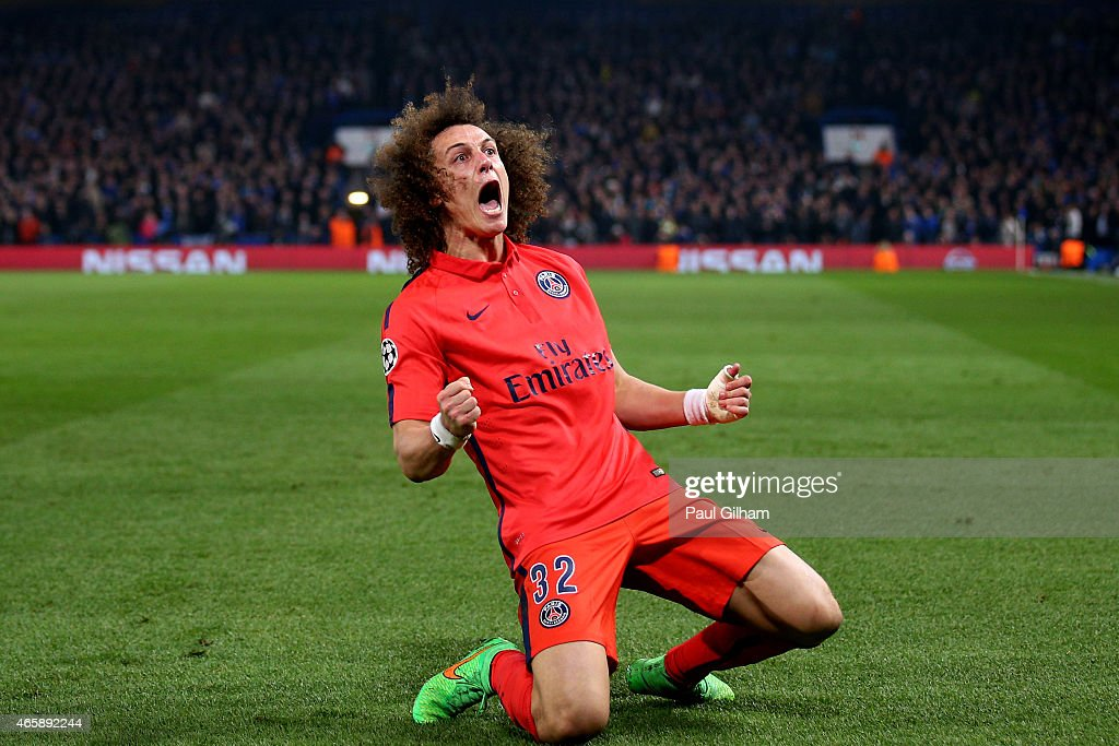 <a gi-track='captionPersonalityLinkClicked' href=/galleries/search?phrase=David+Luiz&family=editorial&specificpeople=4133397 ng-click='$event.stopPropagation()'>David Luiz</a> of PSG celebrates after scoring a goal to level the scores at 1-1 during the UEFA Champions League Round of 16, second leg match between Chelsea and Paris Saint-Germain at Stamford Bridge on March 11, 2015 in London, England.