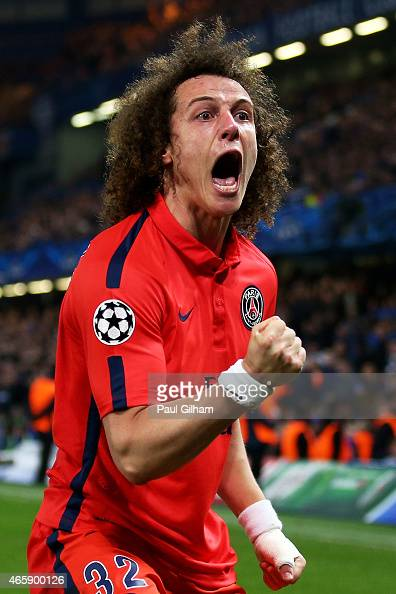 David Luiz of PSG celebrates after scoring a goal to level the scores at 11 during the UEFA Champions League Round of 16 second leg match between...