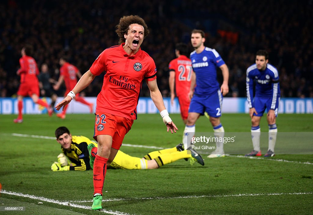 <a gi-track='captionPersonalityLinkClicked' href=/galleries/search?phrase=David+Luiz&family=editorial&specificpeople=4133397 ng-click='$event.stopPropagation()'>David Luiz</a> of PSG celebrates after teammate <a gi-track='captionPersonalityLinkClicked' href=/galleries/search?phrase=Thiago+Silva+-+Soccer+Player+-+Born+1984&family=editorial&specificpeople=11499440 ng-click='$event.stopPropagation()'>Thiago Silva</a> of PSG scores a goal to level the scores at 2-2 during the UEFA Champions League Round of 16, second leg match between Chelsea and Paris Saint-Germain at Stamford Bridge on March 11, 2015 in London, England.