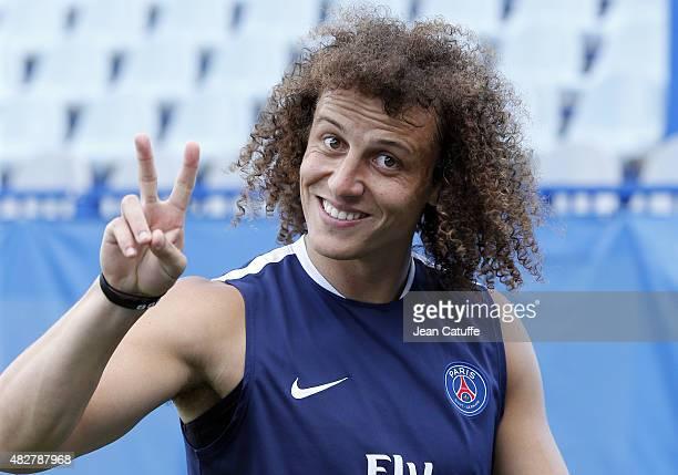 David Luiz of PSG looks on during Paris SaintGermain training session on the eve of the 2015 Trophee des Champions between Paris SaintGermain and...