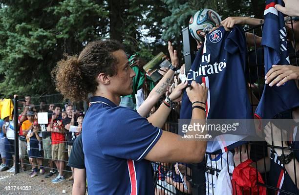 David Luiz of PSG signs autographs to fans following the 2015 Trophee des Champions between Paris SaintGermain and Olympique Lyonnais at Stade Saputo...