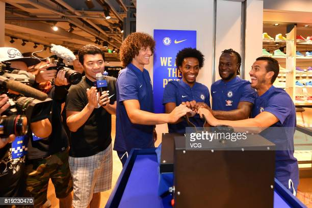 David Luiz Willian Victor Moses and Pedro of Chelsea FC attend an activity ahead of the PreSeason Friendly match between Chelsea and Arsenal on July...