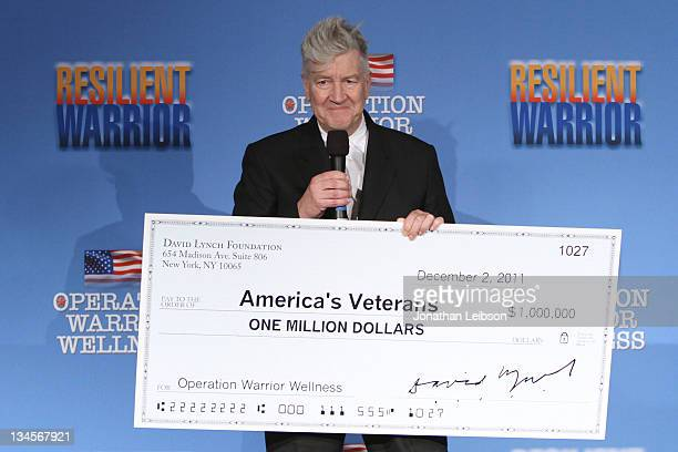David Lynch attends the David Lynch Foundation's Operation Warrior Wellness Press Conference at Beverly Hills Hotel on December 2 2011 in Beverly...