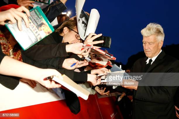 David Lynch signs autographs as he walks red carpet during the 12th Rome Film Fest at Auditorium Parco Della Musica on November 4 2017 in Rome Italy