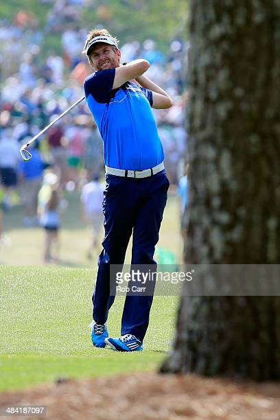 David Lynn of England hits a shot on the 17th hole during the second round of the 2014 Masters Tournament at Augusta National Golf Club on April 11...
