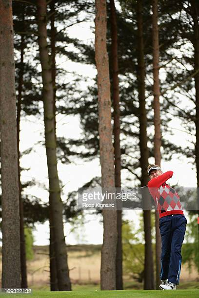 David Lynn of England hits a tee shot during the first round of the BMW PGA Championship on the West Course at Wentworth on May 23 2013 in Virginia...