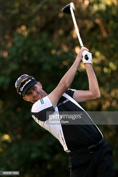 David Lynn of England hits a tee shot on the 12th hole in the second round of the Northern Trust Open at the Riviera Country Club on February 14 2014...