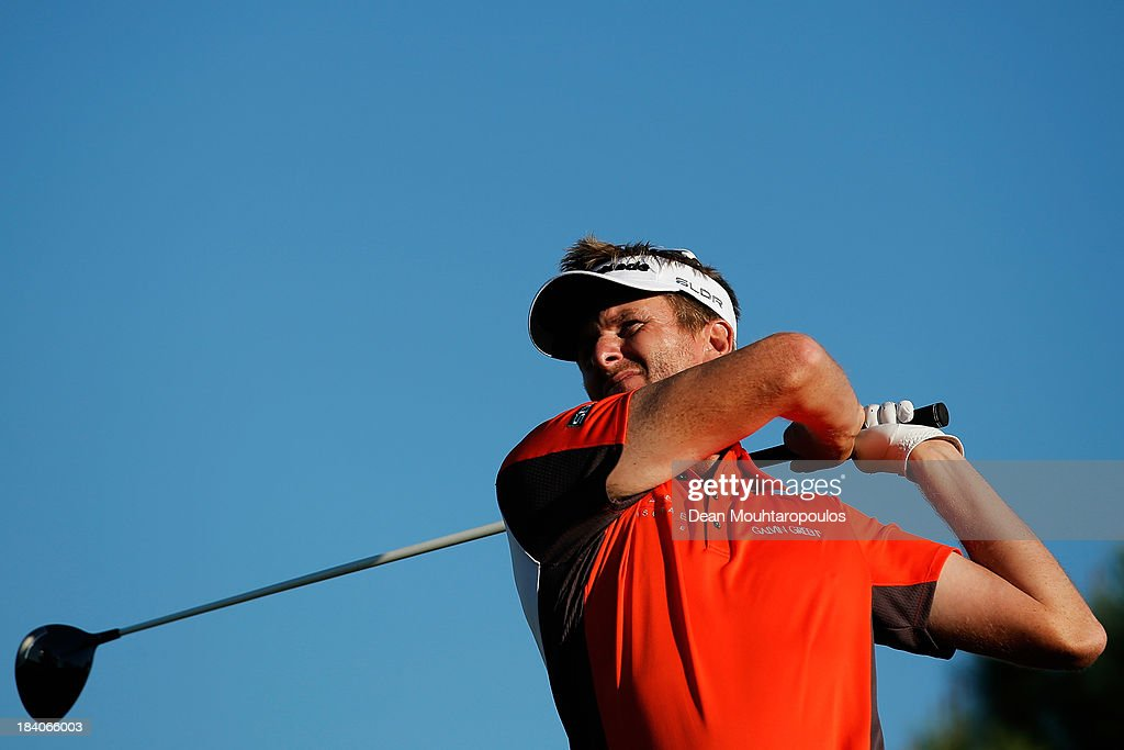<a gi-track='captionPersonalityLinkClicked' href=/galleries/search?phrase=David+Lynn&family=editorial&specificpeople=213350 ng-click='$event.stopPropagation()'>David Lynn</a> of England hits his tee shot on the 17th hole during the second round of the Portugal Masters at Oceanico Victoria Golf Course on October 11, 2013 in Faro, Portugal.