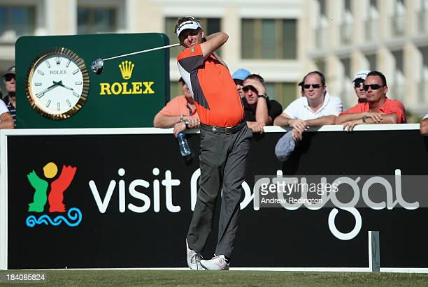 David Lynn of England hits his teeshot on the tenth hole during the second round of the Portugal Masters at Oceanico Victoria Golf Course on October...