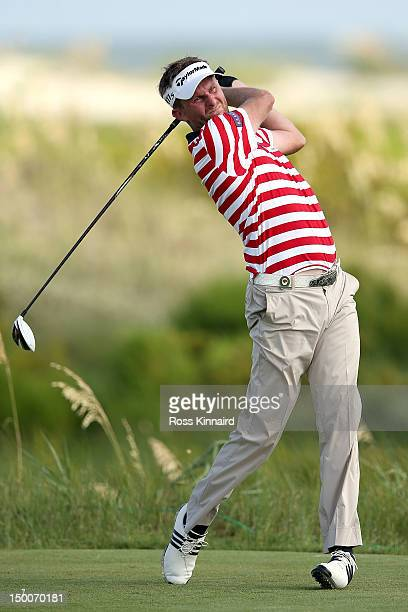 David Lynn of England hits off the sixth tee during Round One of the 94th PGA Championship at the Ocean Course on August 9 2012 in Kiawah Island...