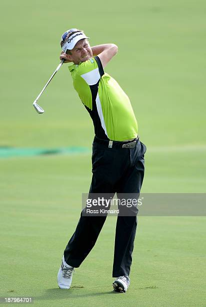 David Lynn of England in action during the first round of the DP World Tour Championship on the Earth Course at the Jumeirah Golf Estates on November...