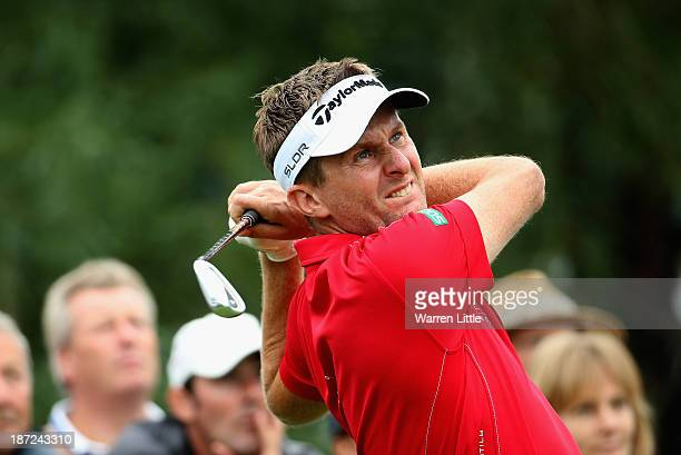 David Lynn of England in action during the first round of the Turkish Airlines Open at The Montgomerie Maxx Royal Course on November 7 2013 in...