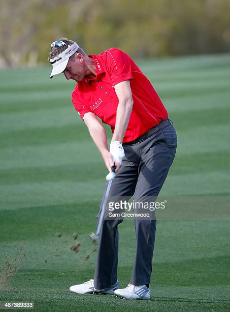 David Lynn of England plays a shot during the first round of the Waste Management Phoenix Open at TPC Scottsdale on January 30 2014 in Scottsdale...