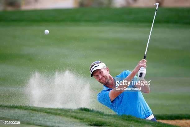 David Lynn of England plays a shot on the 14th hole during the first round of the World Golf Championships Accenture Match Play Championship at The...