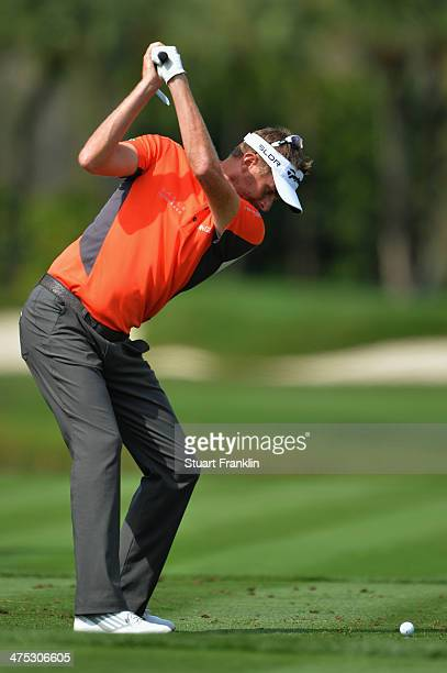 David Lynn of England plays a shot on the 7th hole during the first round of The Honda Classic at PGA National Resort and Spa on February 27 2014 in...