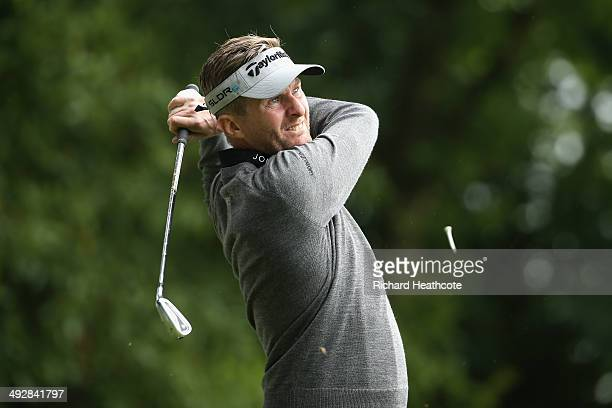 David Lynn of England tees off on the 2nd hole during day one of the BMW PGA Championship at Wentworth on May 22 2014 in Virginia Water England